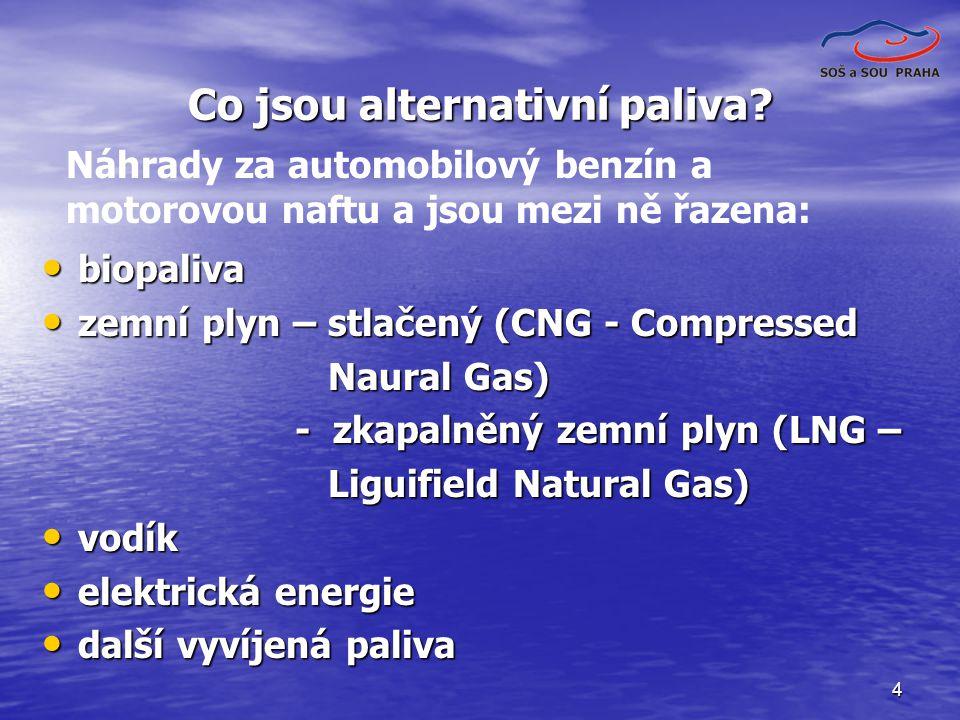 4 Co jsou alternativní paliva? biopaliva biopaliva zemní plyn – stlačený (CNG - Compressed zemní plyn – stlačený (CNG - Compressed Naural Gas) Naural