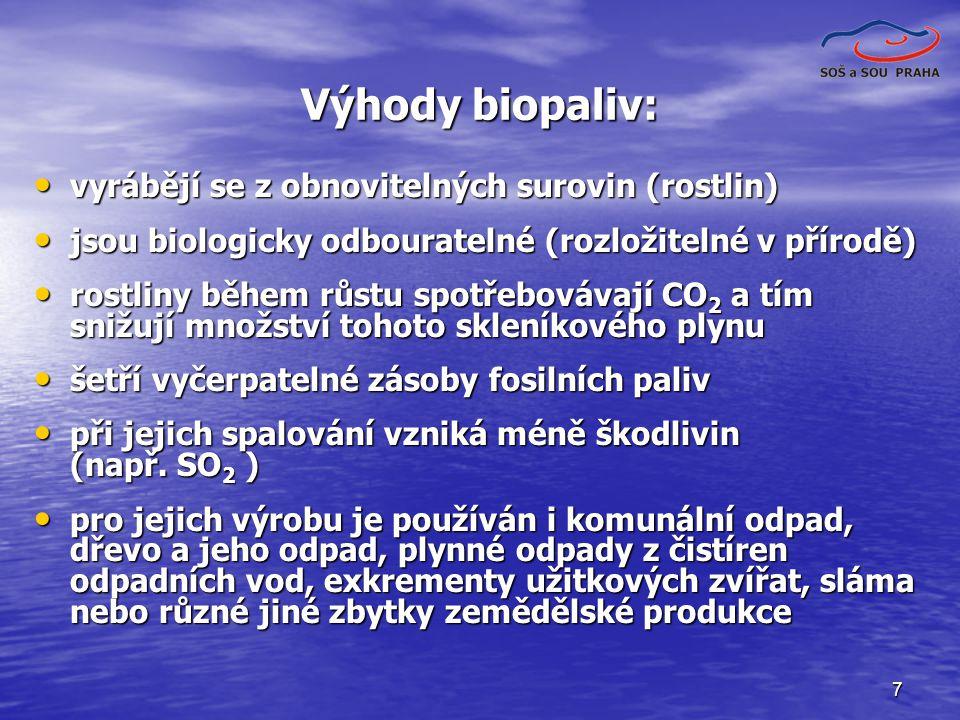 7 Výhody biopaliv: vyrábějí se z obnovitelných surovin (rostlin) vyrábějí se z obnovitelných surovin (rostlin) jsou biologicky odbouratelné (rozložite
