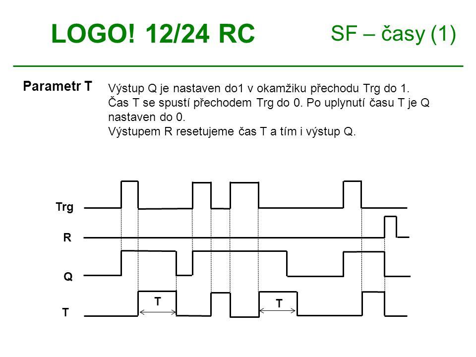 SF – časy (1) LOGO. 12/24 RC Parametr T Výstup Q je nastaven do1 v okamžiku přechodu Trg do 1.