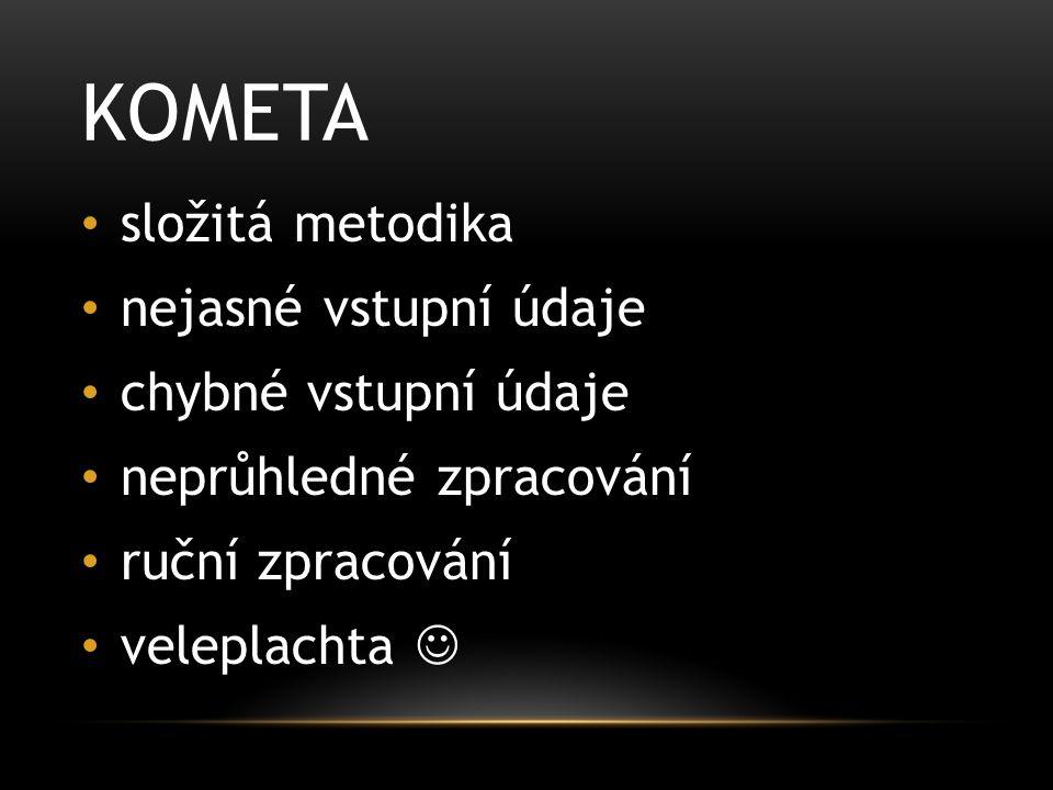 KOMETA těleso sluneční soustavy KOmplexní MEtodika TAjemného rozdělování finančních prostředků KOnečně MEnší TAjemno (snad) KOMETA2