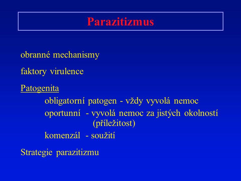 Parazitizmus obranné mechanismy faktory virulence Patogenita obligatorní patogen - vždy vyvolá nemoc oportunní - vyvolá nemoc za jistých okolností (př