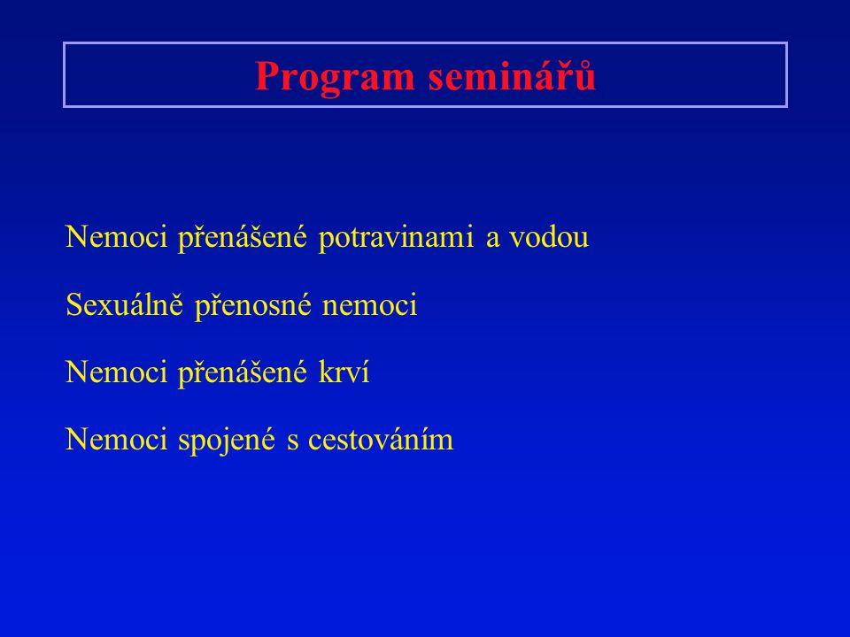 Program seminářů Nemoci přenášené potravinami a vodou Sexuálně přenosné nemoci Nemoci přenášené krví Nemoci spojené s cestováním