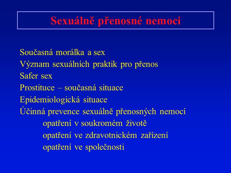 Sexuálně přenosné nemoci Současná morálka a sex Význam sexuálních praktik pro přenos Safer sex Prostituce – současná situace Epidemiologická situace Ú