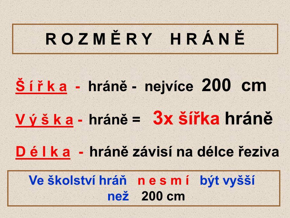 R O Z M Ě R Y H R Á N Ě Š í ř k a - hráně - nejvíce 200 cm V ý š k a - hráně = 3 x šířka hráně D é l k a - hráně závisí na délce řeziva Ve školství hr