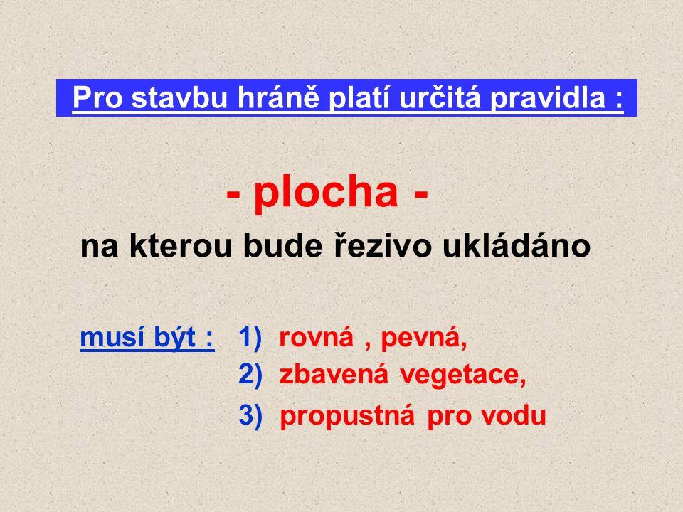 Pro stavbu hráně platí určitá pravidla : - plocha - na kterou bude řezivo ukládáno musí být : 1) rovná, pevná, 2) zbavená vegetace, 3) propustná pro v