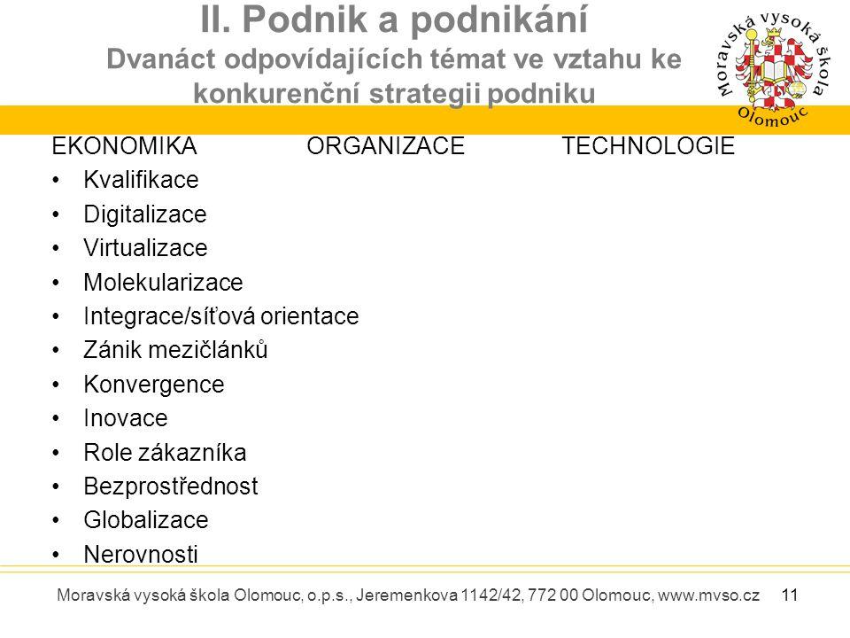 II. Podnik a podnikání Dvanáct odpovídajících témat ve vztahu ke konkurenční strategii podniku Moravská vysoká škola Olomouc, o.p.s., Jeremenkova 1142