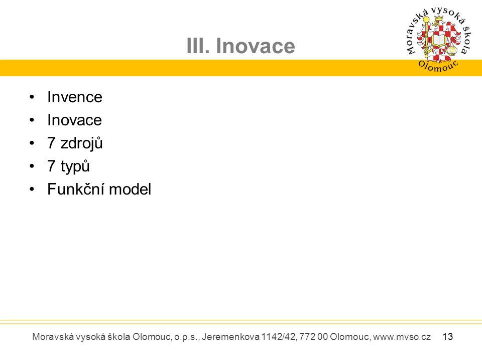 III. Inovace Moravská vysoká škola Olomouc, o.p.s., Jeremenkova 1142/42, 772 00 Olomouc, www.mvso.cz Invence Inovace 7 zdrojů 7 typů Funkční model 13