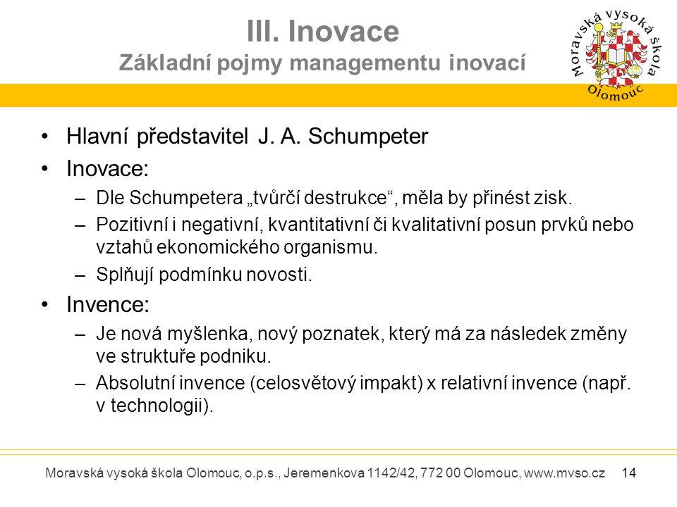 III. Inovace Základní pojmy managementu inovací Moravská vysoká škola Olomouc, o.p.s., Jeremenkova 1142/42, 772 00 Olomouc, www.mvso.cz Hlavní předsta