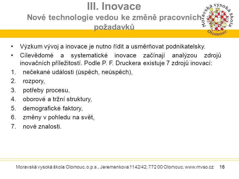III. Inovace Nové technologie vedou ke změně pracovních požadavků Moravská vysoká škola Olomouc, o.p.s., Jeremenkova 1142/42, 772 00 Olomouc, www.mvso