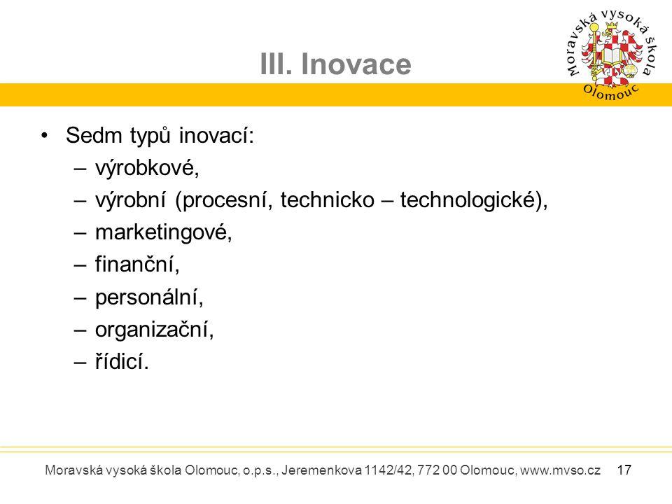 III. Inovace Moravská vysoká škola Olomouc, o.p.s., Jeremenkova 1142/42, 772 00 Olomouc, www.mvso.cz Sedm typů inovací: –výrobkové, –výrobní (procesní