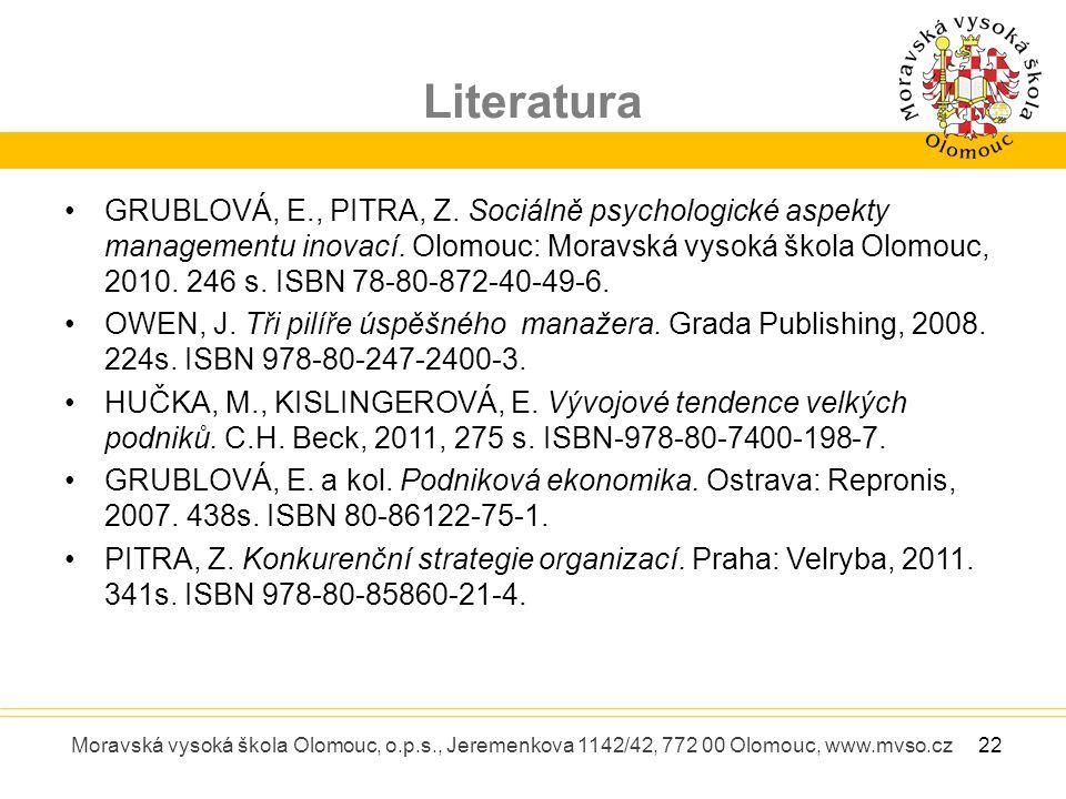 Literatura Moravská vysoká škola Olomouc, o.p.s., Jeremenkova 1142/42, 772 00 Olomouc, www.mvso.cz GRUBLOVÁ, E., PITRA, Z. Sociálně psychologické aspe