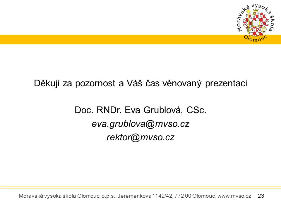 Moravská vysoká škola Olomouc, o.p.s., Jeremenkova 1142/42, 772 00 Olomouc, www.mvso.cz Děkuji za pozornost a Váš čas věnovaný prezentaci Doc. RNDr. E