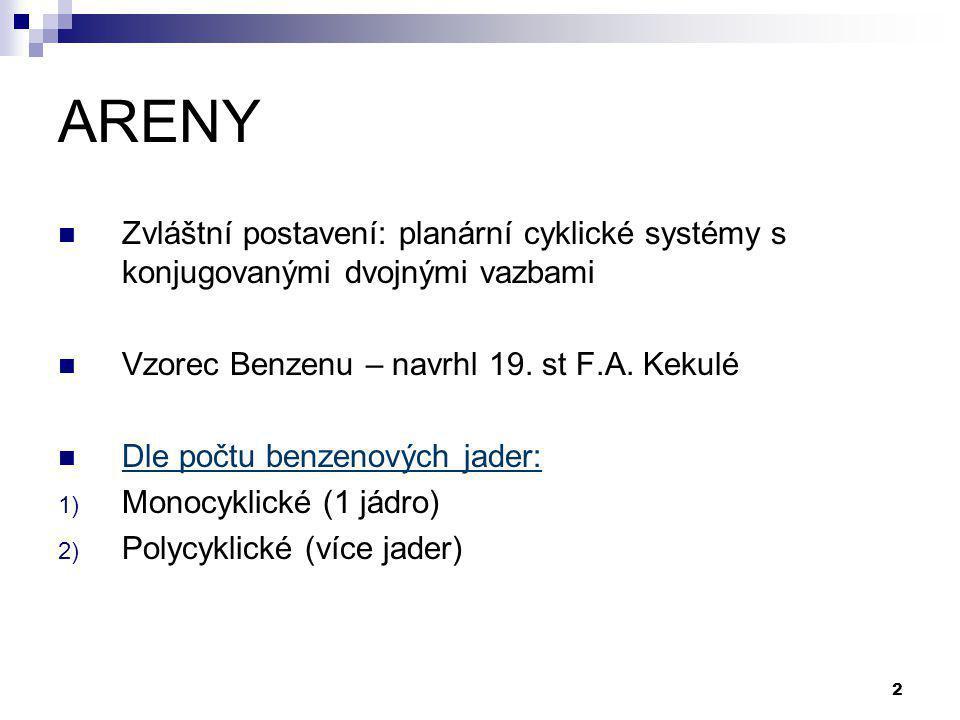 2 ARENY Zvláštní postavení: planární cyklické systémy s konjugovanými dvojnými vazbami Vzorec Benzenu – navrhl 19. st F.A. Kekulé Dle počtu benzenovýc