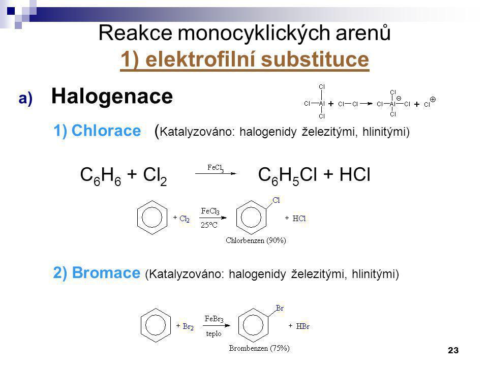 23 Reakce monocyklických arenů 1) elektrofilní substituce a) Halogenace 1)Chlorace ( Katalyzováno: halogenidy železitými, hlinitými) C 6 H 6 + Cl 2 C