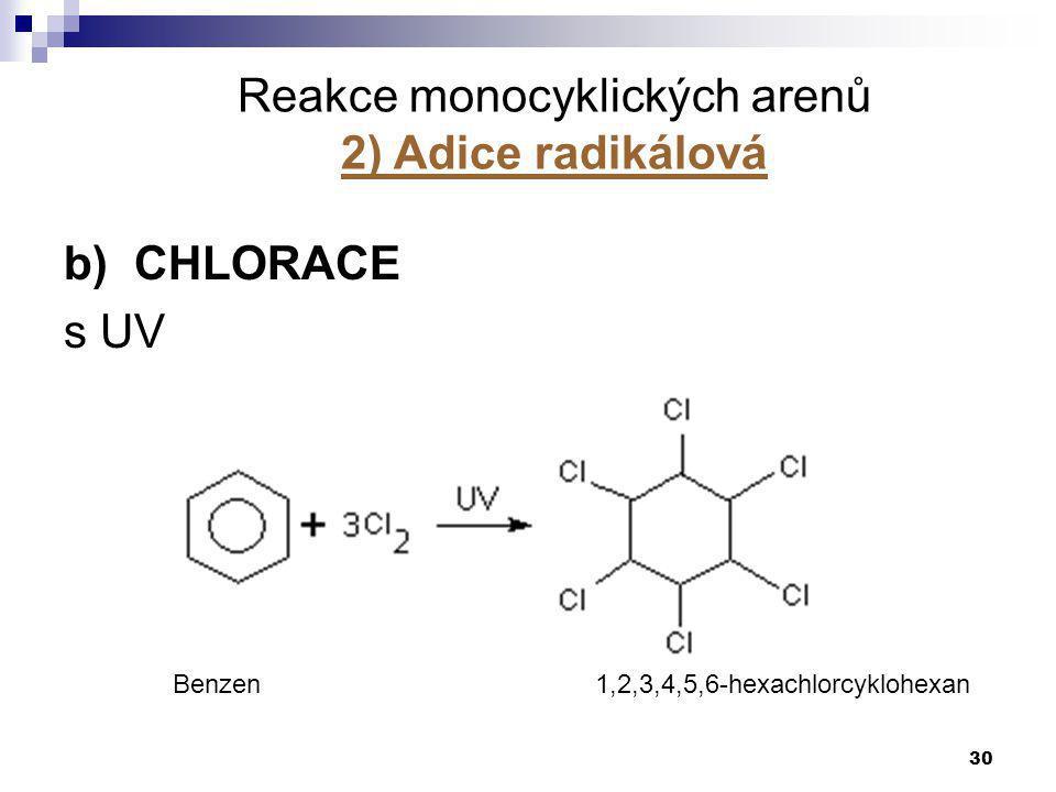 30 b) CHLORACE s UV Reakce monocyklických arenů 2) Adice radikálová Benzen1,2,3,4,5,6-hexachlorcyklohexan