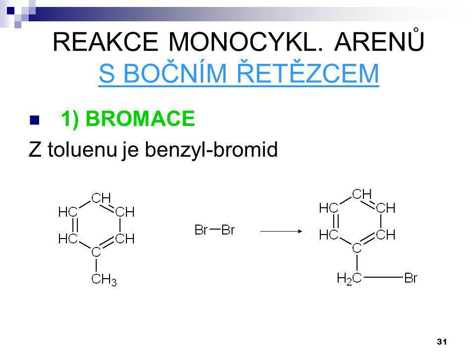 31 REAKCE MONOCYKL. ARENŮ S BOČNÍM ŘETĚZCEM 1) BROMACE Z toluenu je benzyl-bromid