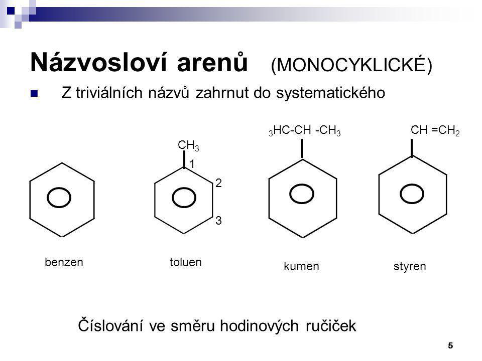 5 Názvosloví arenů (MONOCYKLICKÉ) Z triviálních názvů zahrnut do systematického Číslování ve směru hodinových ručiček benzen kumen toluen styren CH 3