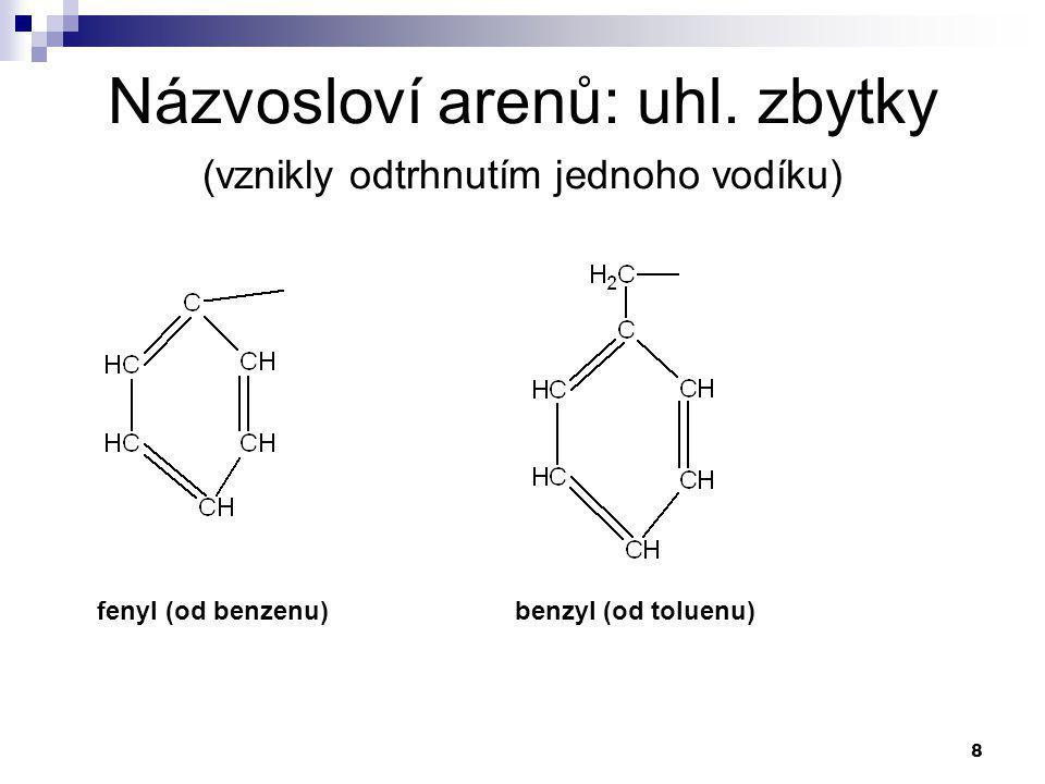 8 Názvosloví arenů: uhl. zbytky (vznikly odtrhnutím jednoho vodíku) fenyl (od benzenu)benzyl (od toluenu)