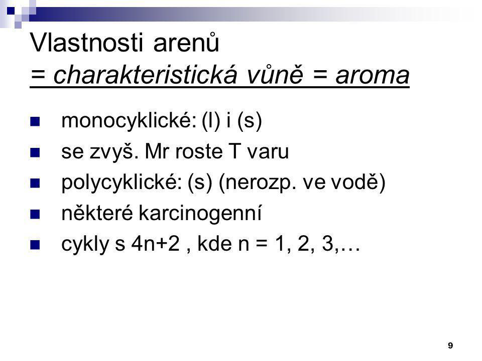 9 Vlastnosti arenů = charakteristická vůně = aroma monocyklické: (l) i (s) se zvyš. Mr roste T varu polycyklické: (s) (nerozp. ve vodě) některé karcin