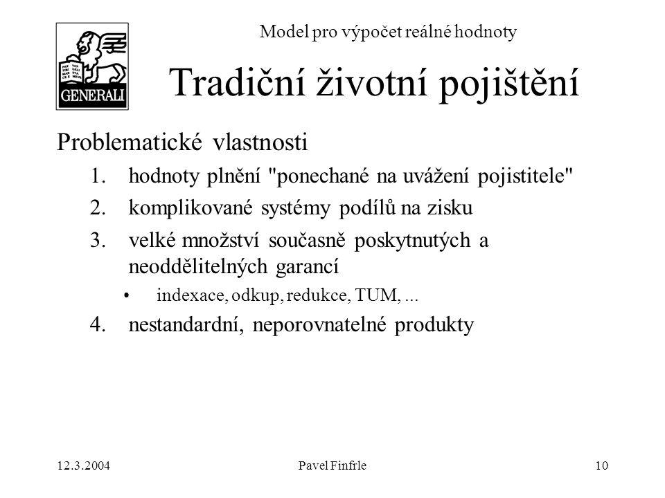 12.3.2004Pavel Finfrle10 Model pro výpočet reálné hodnoty Problematické vlastnosti 1.hodnoty plnění