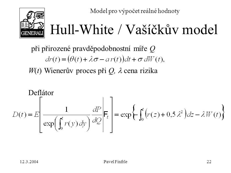 12.3.2004Pavel Finfrle22 Model pro výpočet reálné hodnoty při přirozené pravděpodobnostní míře Q W(t) Wienerův proces při Q, cena rizika Deflátor Hull