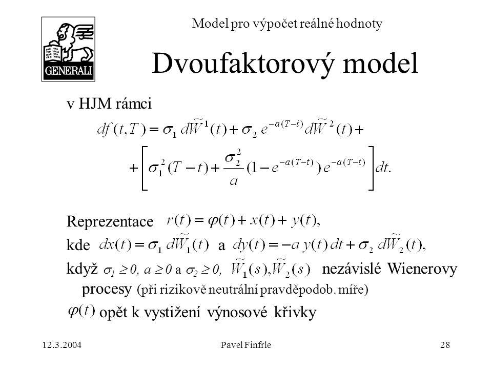 12.3.2004Pavel Finfrle28 Model pro výpočet reálné hodnoty v HJM rámci Reprezentace kde a když  1  0, a  0 a  2  0, nezávislé Wienerovy procesy (p