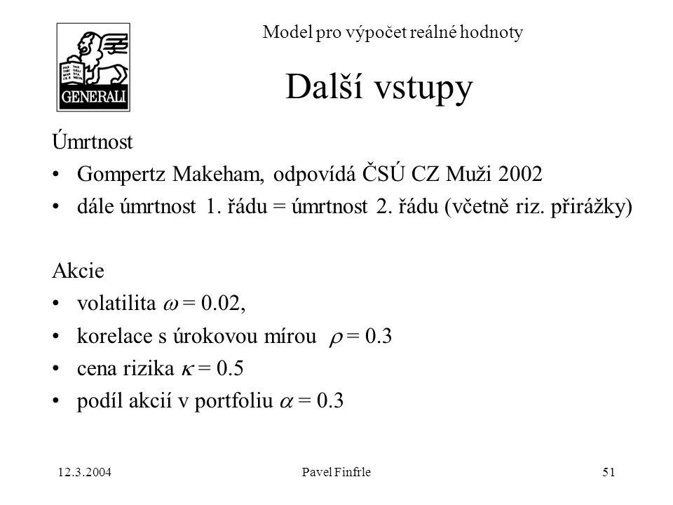 12.3.2004Pavel Finfrle51 Model pro výpočet reálné hodnoty Úmrtnost Gompertz Makeham, odpovídá ČSÚ CZ Muži 2002 dále úmrtnost 1. řádu = úmrtnost 2. řád