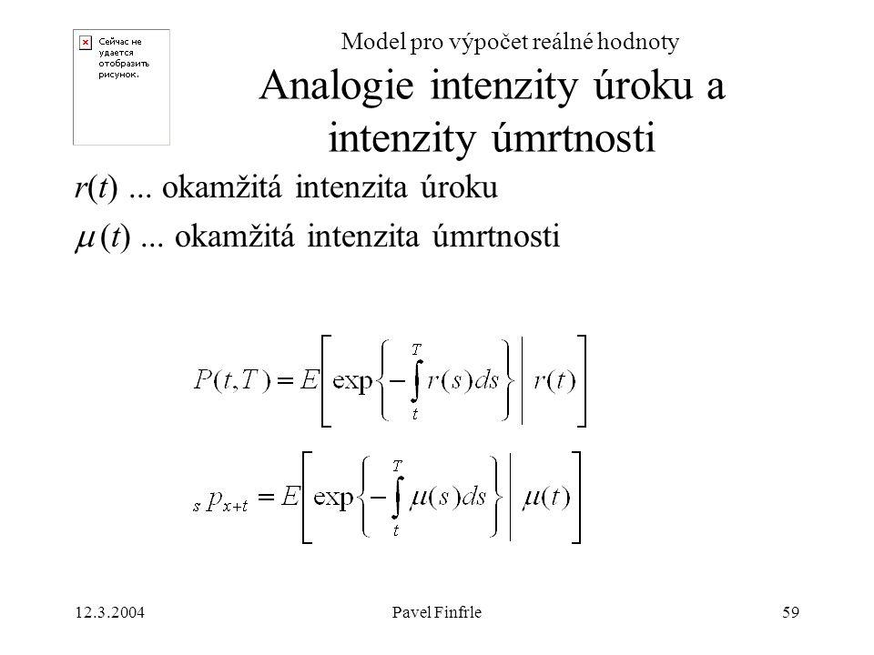 12.3.2004Pavel Finfrle59 Model pro výpočet reálné hodnoty r(t)... okamžitá intenzita úroku  (t)... okamžitá intenzita úmrtnosti Analogie intenzity úr