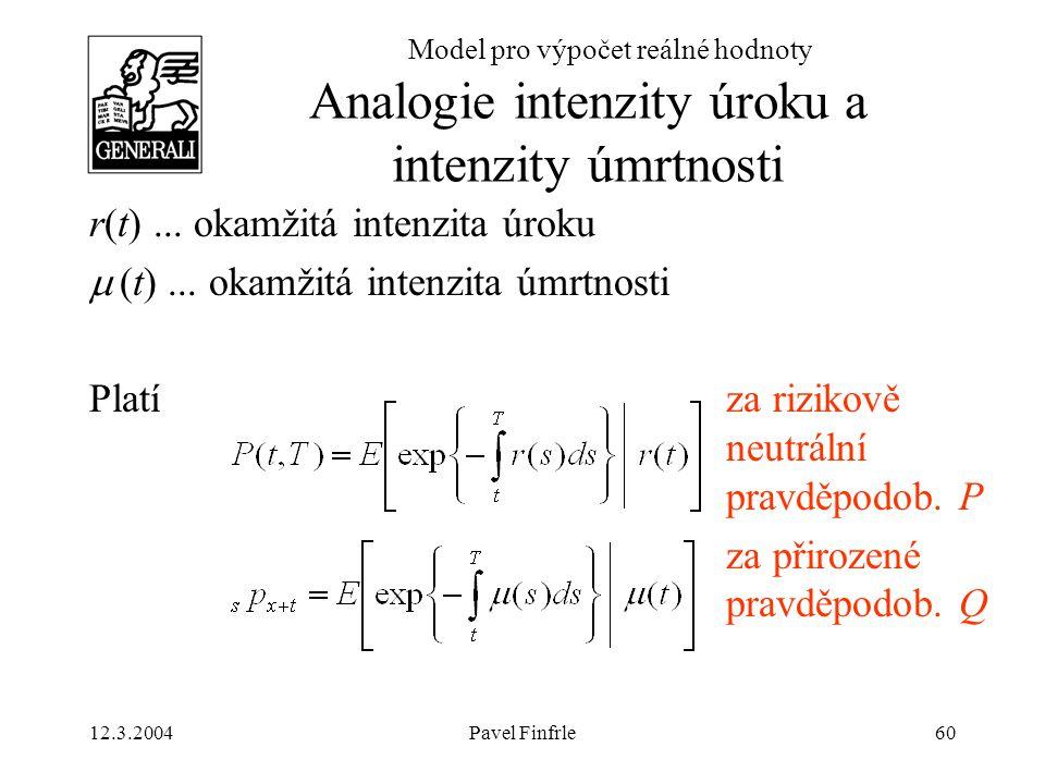 12.3.2004Pavel Finfrle60 Model pro výpočet reálné hodnoty r(t)... okamžitá intenzita úroku  (t)... okamžitá intenzita úmrtnosti Platí za rizikově neu
