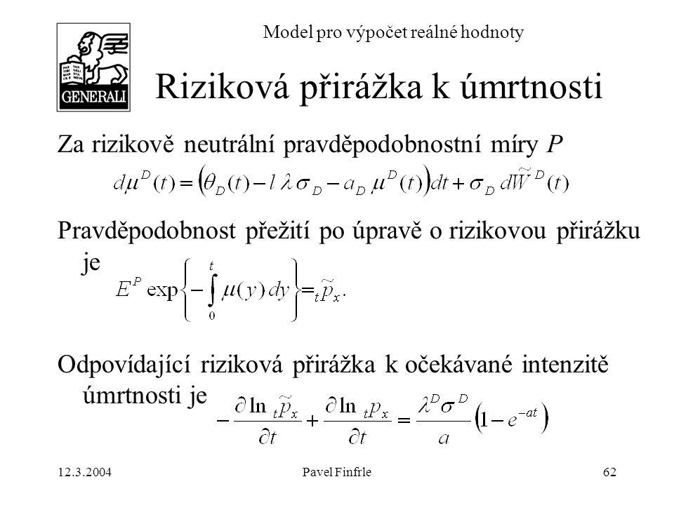 12.3.2004Pavel Finfrle62 Model pro výpočet reálné hodnoty Za rizikově neutrální pravděpodobnostní míry P Pravděpodobnost přežití po úpravě o rizikovou