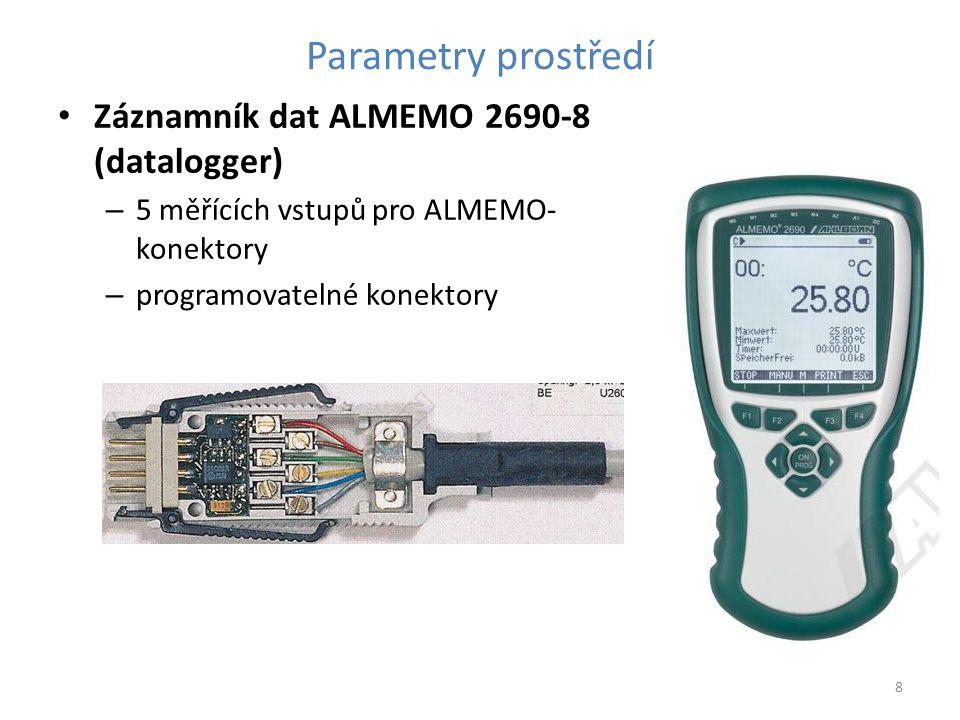 Parametry prostředí Záznamník dat ALMEMO 2690-8 (datalogger) – 5 měřících vstupů pro ALMEMO- konektory – programovatelné konektory 8