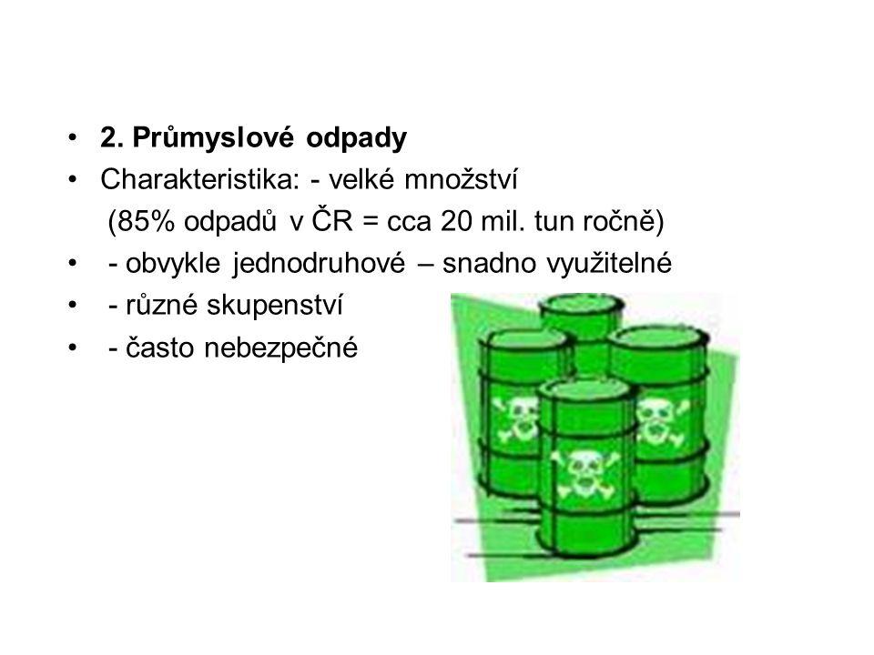 2. Průmyslové odpady Charakteristika: - velké množství (85% odpadů v ČR = cca 20 mil. tun ročně) - obvykle jednodruhové – snadno využitelné - různé sk