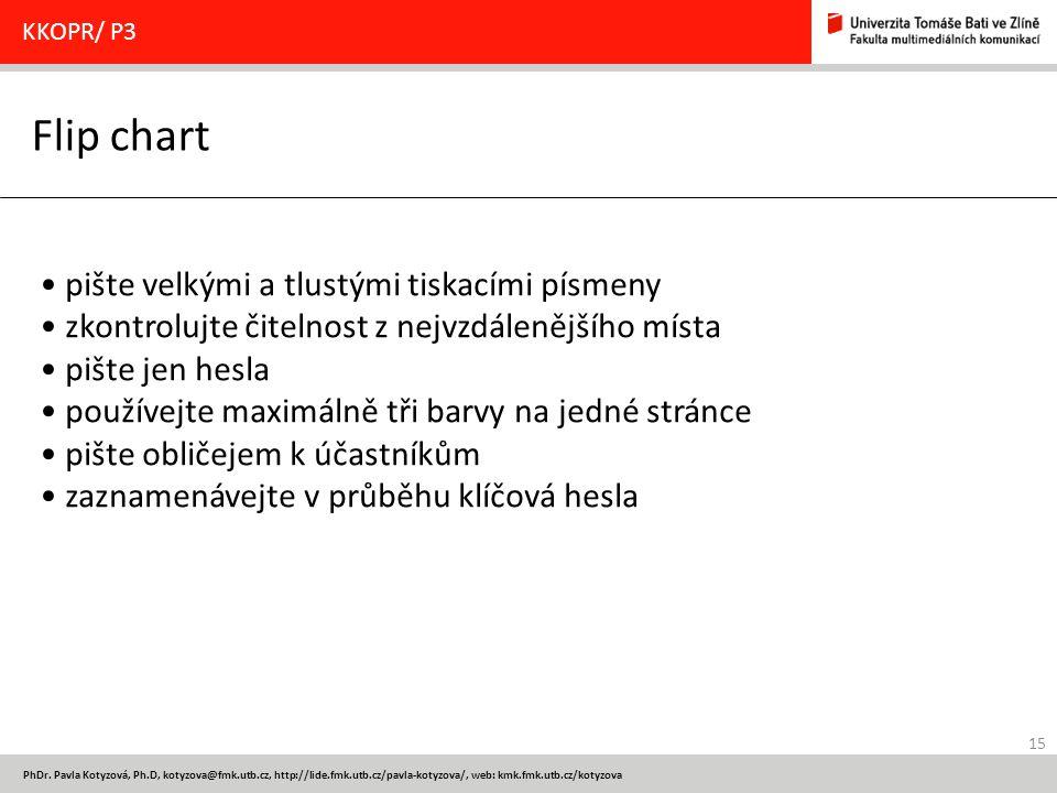 15 PhDr. Pavla Kotyzová, Ph.D, kotyzova@fmk.utb.cz, http://lide.fmk.utb.cz/pavla-kotyzova/, web: kmk.fmk.utb.cz/kotyzova Flip chart KKOPR/ P3 pište ve