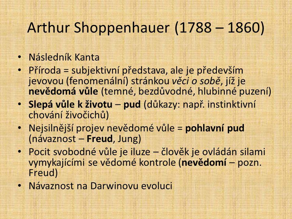 Arthur Shoppenhauer (1788 – 1860) Následník Kanta Příroda = subjektivní představa, ale je především jevovou (fenomenální) stránkou věci o sobě, jíž je