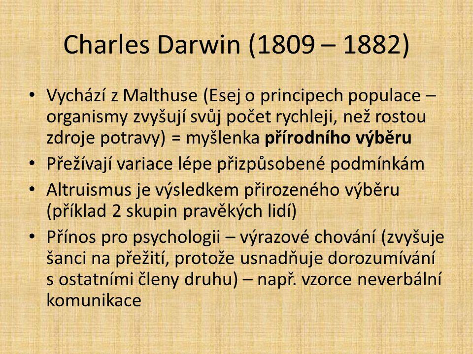 Charles Darwin (1809 – 1882) Vychází z Malthuse (Esej o principech populace – organismy zvyšují svůj počet rychleji, než rostou zdroje potravy) = myšl