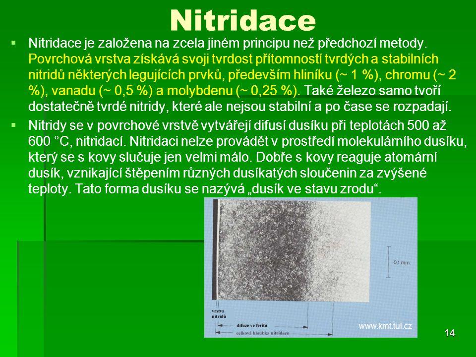 Nitridace   Nitridace je založena na zcela jiném principu než předchozí metody. Povrchová vrstva získává svoji tvrdost přítomností tvrdých a stabiln