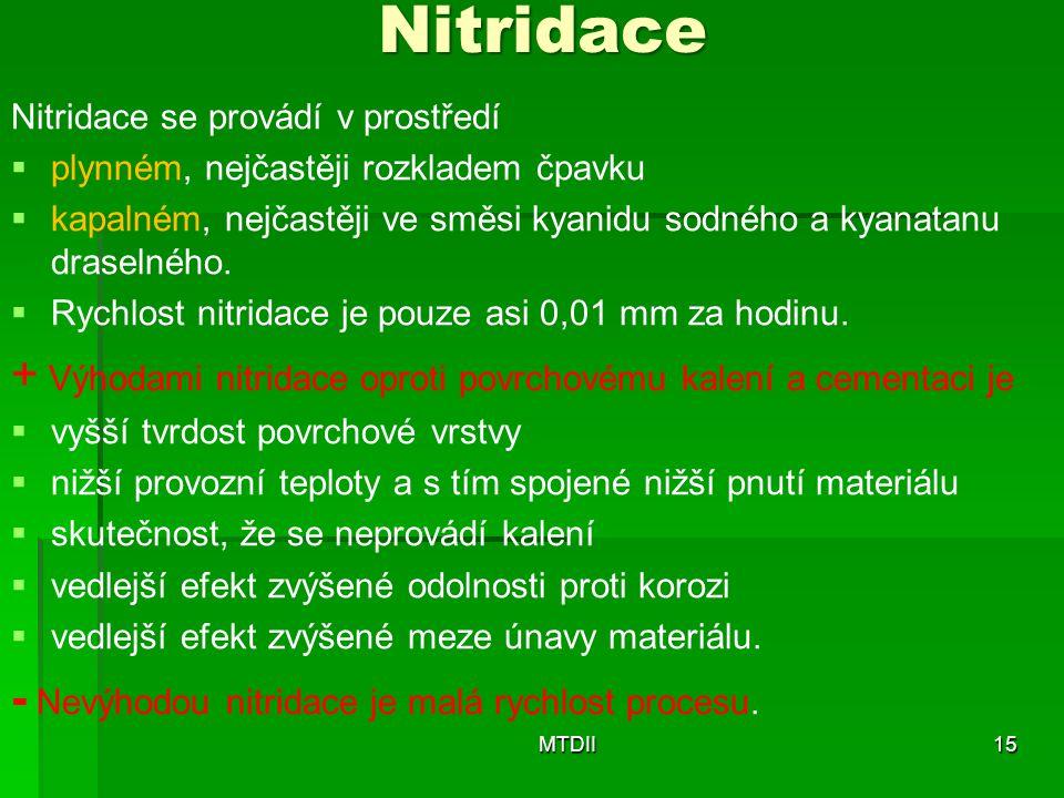 Nitridace Nitridace se provádí v prostředí   plynném, nejčastěji rozkladem čpavku   kapalném, nejčastěji ve směsi kyanidu sodného a kyanatanu draselného.