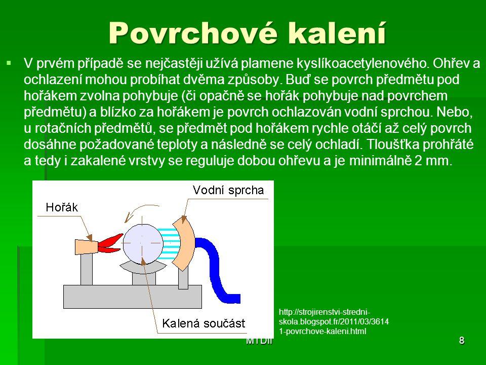Povrchové kalení   V prvém případě se nejčastěji užívá plamene kyslíkoacetylenového.
