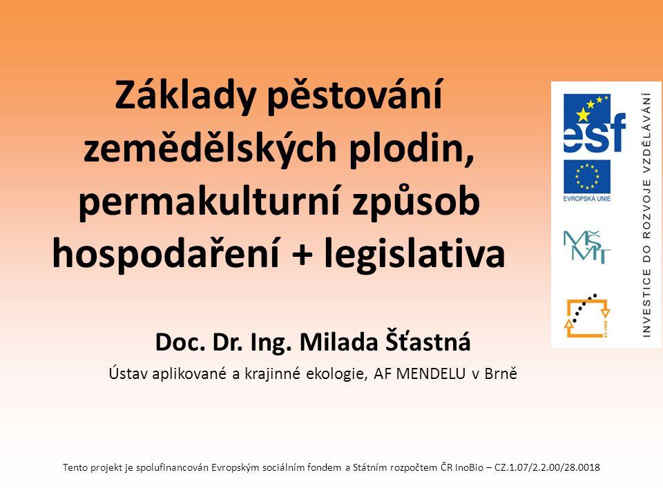Tento projekt je spolufinancován Evropským sociálním fondem a Státním rozpočtem ČR InoBio – CZ.1.07/2.2.00/28.0018 Základy pěstování zemědělských plod