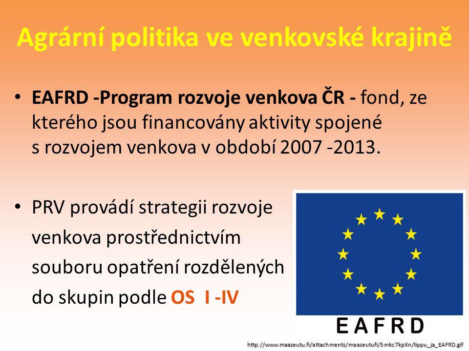 Agrární politika ve venkovské krajině EAFRD -Program rozvoje venkova ČR - fond, ze kterého jsou financovány aktivity spojené s rozvojem venkova v obdo