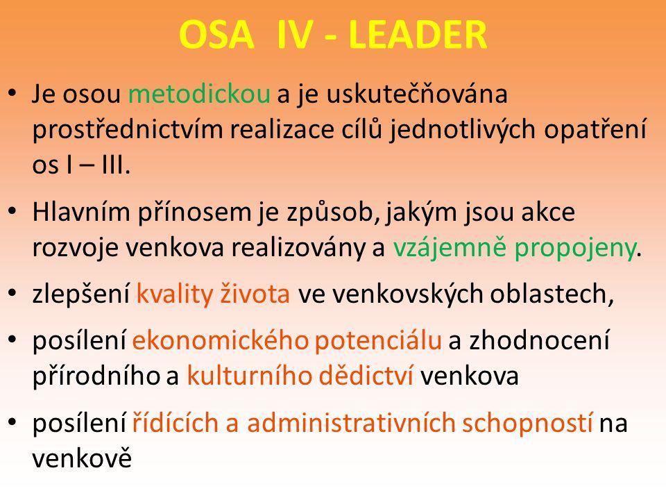 OSA IV - LEADER Je osou metodickou a je uskutečňována prostřednictvím realizace cílů jednotlivých opatření os I – III. Hlavním přínosem je způsob, jak