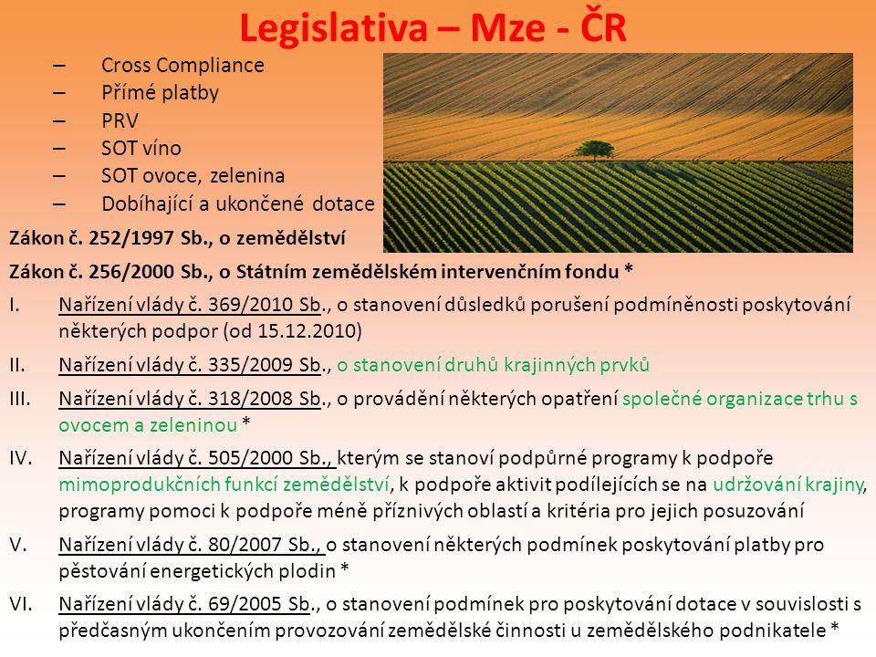 Legislativa – Mze - ČR – Cross Compliance – Přímé platby – PRV – SOT víno – SOT ovoce, zelenina – Dobíhající a ukončené dotace Zákon č. 252/1997 Sb.,