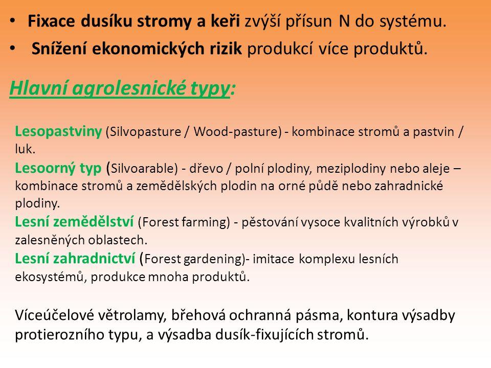 Fixace dusíku stromy a keři zvýší přísun N do systému. Snížení ekonomických rizik produkcí více produktů. Hlavní agrolesnické typy: Lesopastviny (Silv