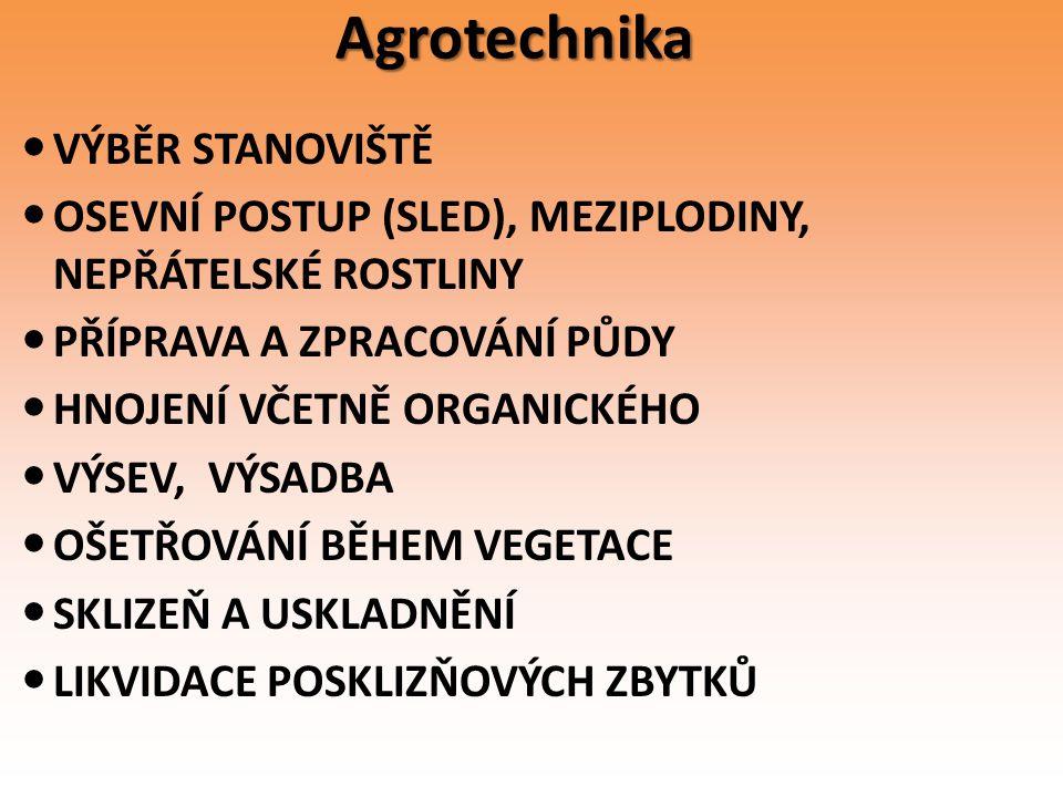 Agrotechnika VÝBĚR STANOVIŠTĚ OSEVNÍ POSTUP (SLED), MEZIPLODINY, NEPŘÁTELSKÉ ROSTLINY PŘÍPRAVA A ZPRACOVÁNÍ PŮDY HNOJENÍ VČETNĚ ORGANICKÉHO VÝSEV, VÝS