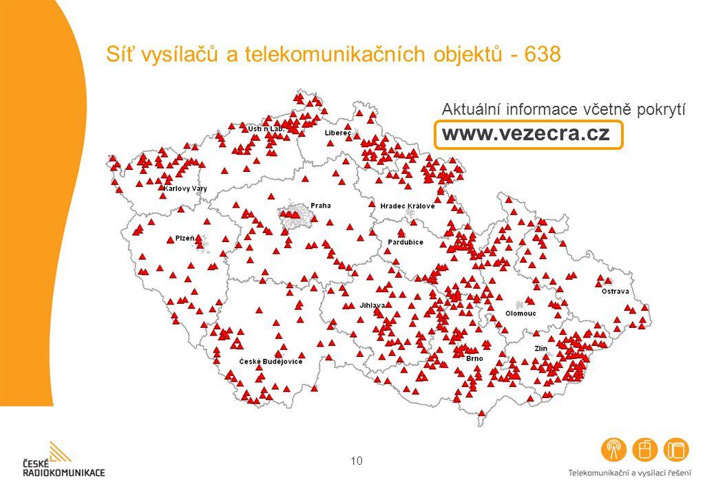 10 Síť vysílačů a telekomunikačních objektů - 638 Aktuální informace včetně pokrytí www.vezecra.cz