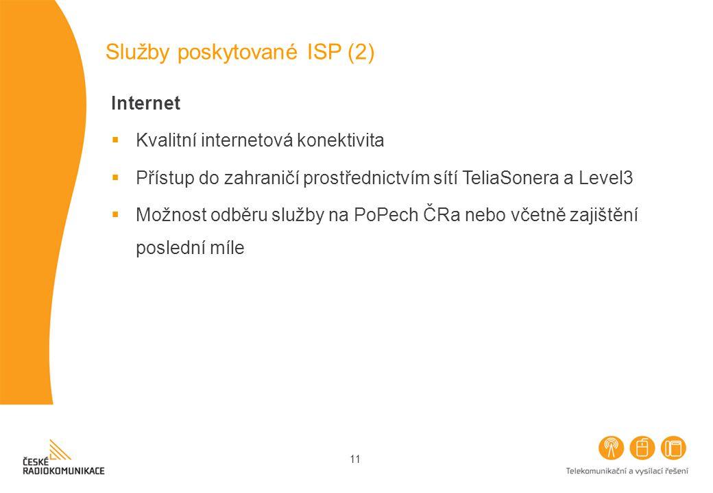 11 Služby poskytované ISP (2) Internet  Kvalitní internetová konektivita  Přístup do zahraničí prostřednictvím sítí TeliaSonera a Level3  Možnost odběru služby na PoPech ČRa nebo včetně zajištění poslední míle