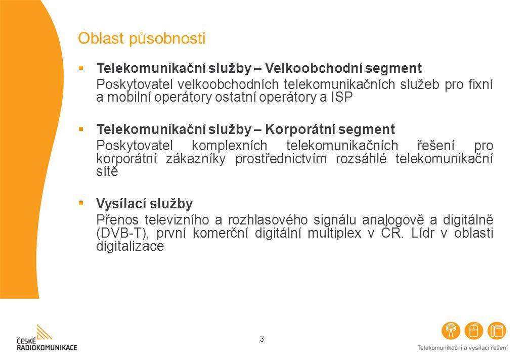 3 Oblast působnosti  Telekomunikační služby – Velkoobchodní segment Poskytovatel velkoobchodních telekomunikačních služeb pro fixní a mobilní operátory ostatní operátory a ISP  Telekomunikační služby – Korporátní segment Poskytovatel komplexních telekomunikačních řešení pro korporátní zákazníky prostřednictvím rozsáhlé telekomunikační sítě  Vysílací služby Přenos televizního a rozhlasového signálu analogově a digitálně (DVB-T), první komerční digitální multiplex v ČR.