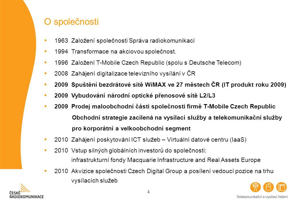4 O společnosti  1963 Založení společnosti Správa radiokomunikací  1994 Transformace na akciovou společnost.