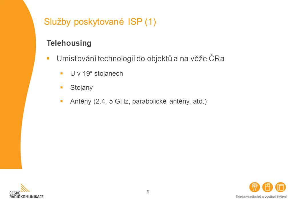 9 Služby poskytované ISP (1) Telehousing  Umisťování technologií do objektů a na věže ČRa  U v 19 stojanech  Stojany  Antény (2.4, 5 GHz, parabolické antény, atd.)