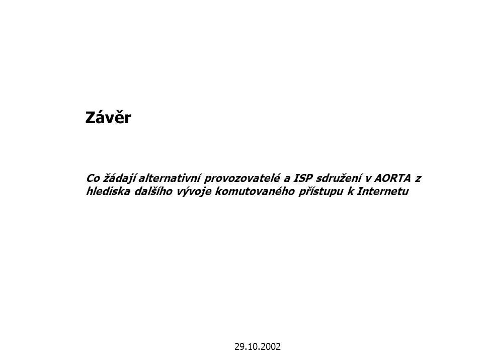 29.10.2002 Závěr Co žádají alternativní provozovatelé a ISP sdružení v AORTA z hlediska dalšího vývoje komutovaného přístupu k Internetu